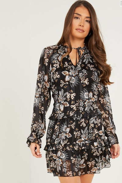 Black Chiffon Paisley Print Dress